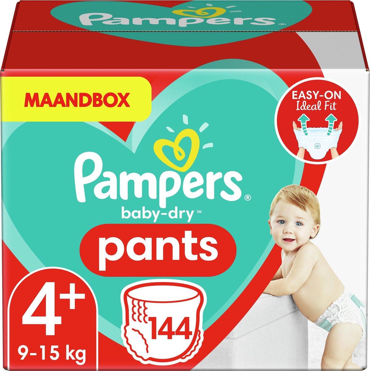 Pampers Baby-Dry Pants Luierbroekjes - Maat 4+ (9-15 kg) - 144 stuks - Maandbox