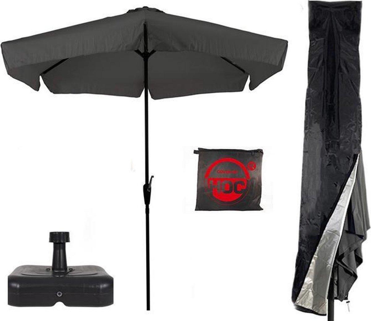 Parasol + Parasolvoet + Parasolhoes ( Grijs / Antraciet - vulbare parasolvoet - CUHOC Parasolhoes )