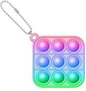 Pop it sleutelhanger - fidget toys - speelgoed - jongens - meisjes - vierkant regenboog