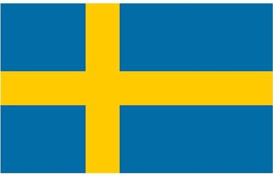 Vlag Zweden 90 x 150 cm feestartikelen - Zweden landen thema supporter/fan decoratie artikelen