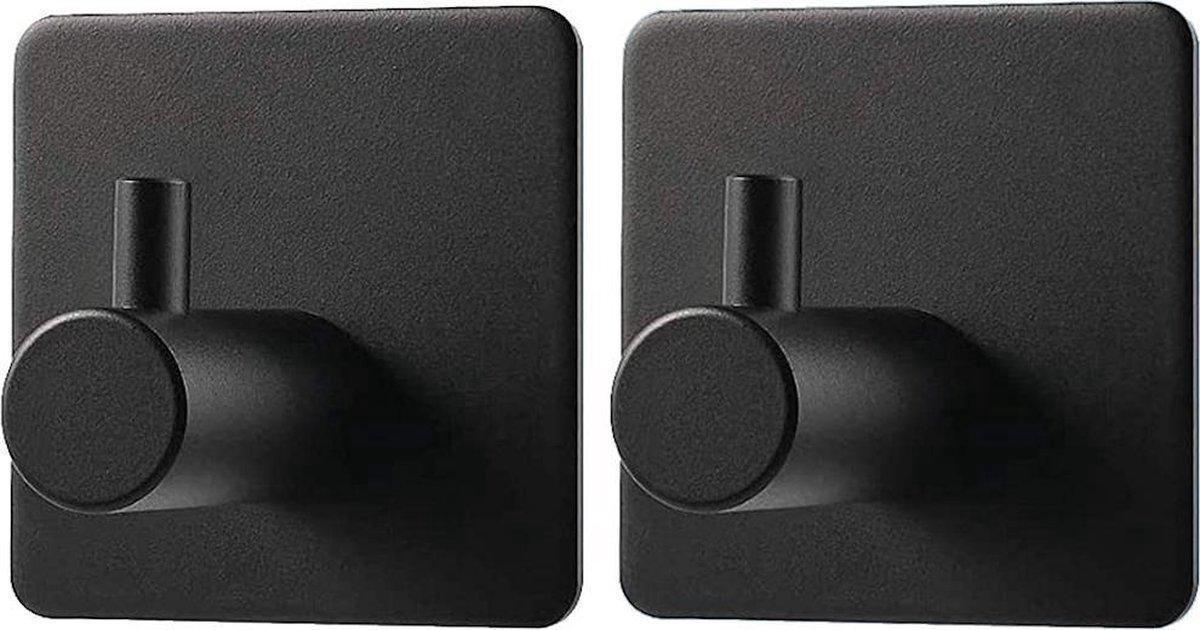Moderne Handdoekhaakjes (Zelfklevend) RVS Zwart - Zelfklevende Haakjes - Wandhaak - Ophanghaken - Voor Keuken & Badkamer of Toilet - 2 Stuks