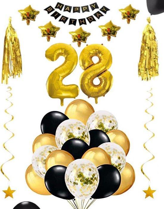 28 jaar verjaardag feest pakket Versiering Ballonnen voor feest 28 jaar. Ballonnen slingers sterren opblaasbare cijfers 28