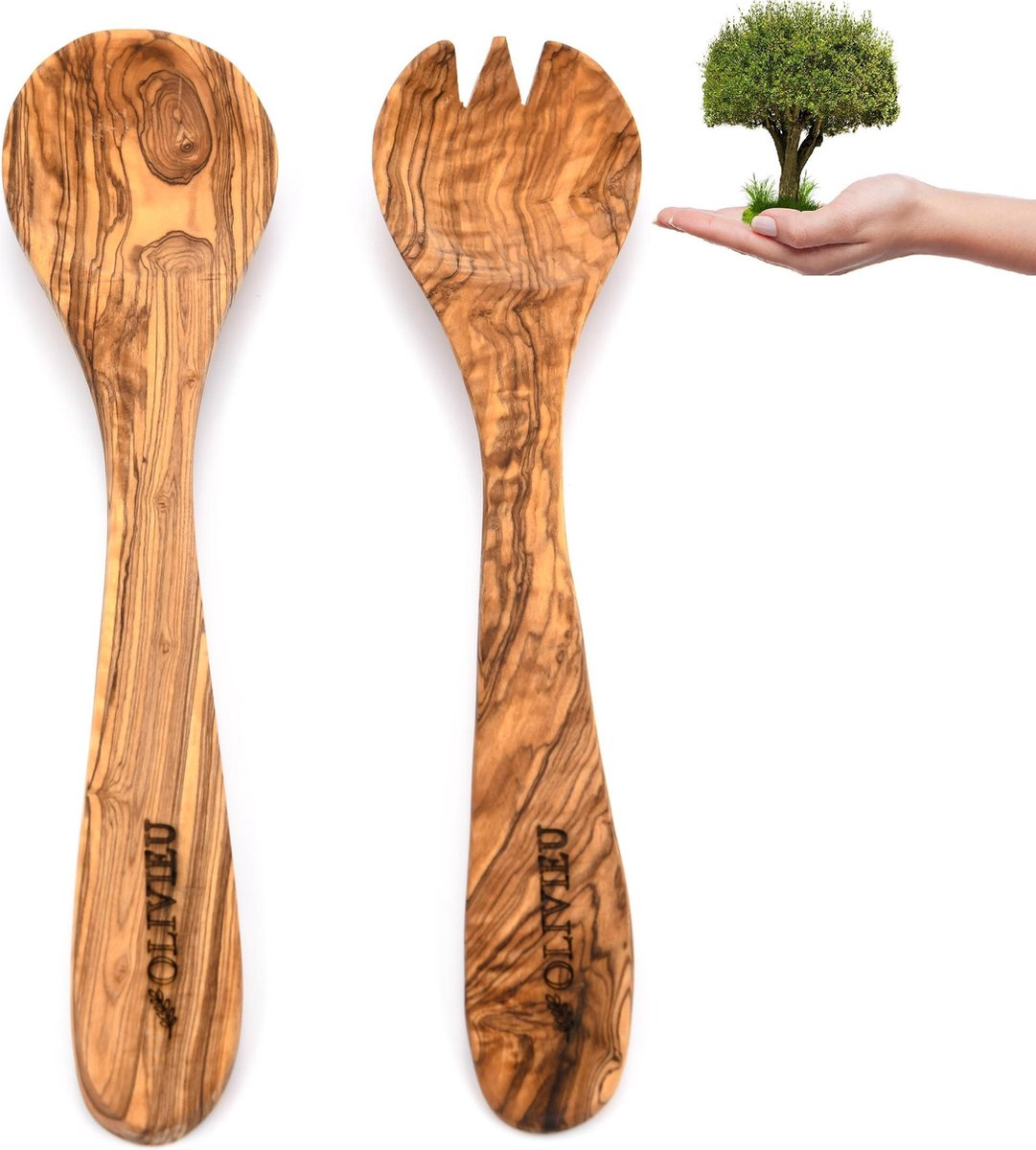 OLIVIEU   Hygi nisch Duurzaam Olijfhouten Slabestek   30 cm   Slacouvert   Saladebestek Hout   Sla b