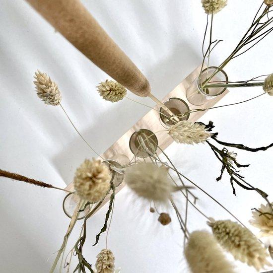 Stekstation met 5 reageerbuisjes in blank hout   Reageerbuisjes voor stekjes of droogbloemen   Vijf glazen vaasjes met kurk   Stekken op water   Stekje kweken   Stek je plant   Hydroponie