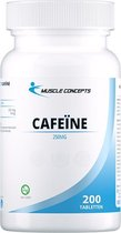 Caffeïne pillen | Muscle Concepts - Pre workout Cafeïne - Energie boost - 200 tabletten