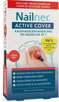 Nailner Active Cover Coral Red. Kalknagelbehandeling en nagellak in 1. Plus 1 gratis ademende nagellak voor gezonde nagels.