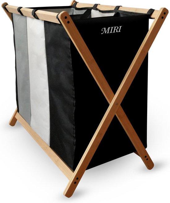 MIRI Wasmand - Wassorteerder - Wasmanden - Wasmand 3 vakken - Opvouwbaar - Wasbox - Bamboe - 105L - Incl. Schroevendraaier - Laundry Basket