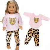 Poppen kleertjes - Roze kleding set met luipaard - Geschikt voor pop tot 43CM zoals BABY born