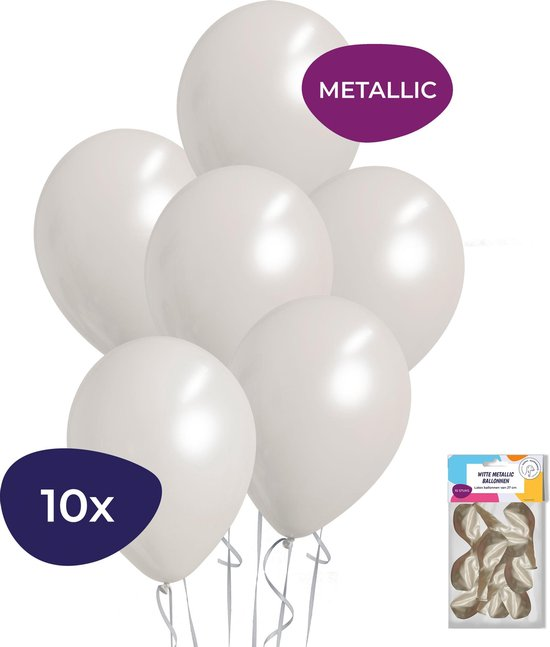 Witte Ballonnen - Metallic Ballonnen - Helium Ballonnen - Sweet 16 Versiering - Verjaardag Versiering - 10 stuks