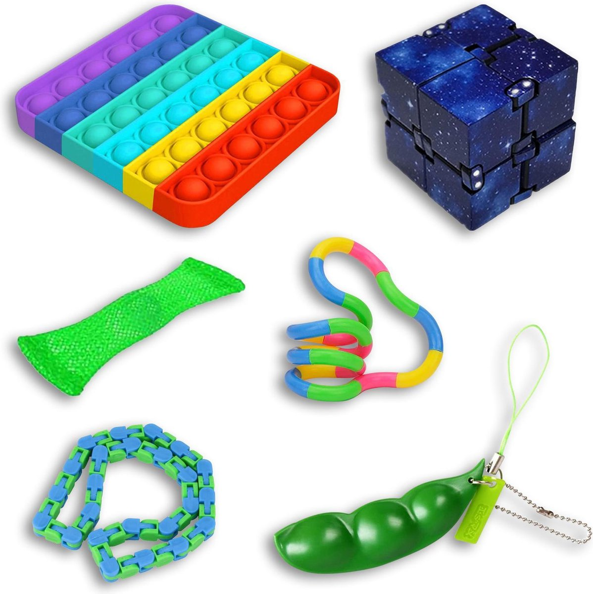 Fidget toys pakket onder de 15 euro | pop it | wacky tracks | mesh and marble | infinity cube