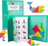 Fesio Tangram Puzzelboek Magnetisch - 96 Puzzels - Magneetboek/Houten Vormenpuzzel - Groen