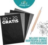 Happy Soul Carbonpapier 100st. - Overtrekpapier - Transferpapier - Hobby en Tekenen - A4 - zwart - Inclusief Overtrekpen & Unieke Overtrekdesigns