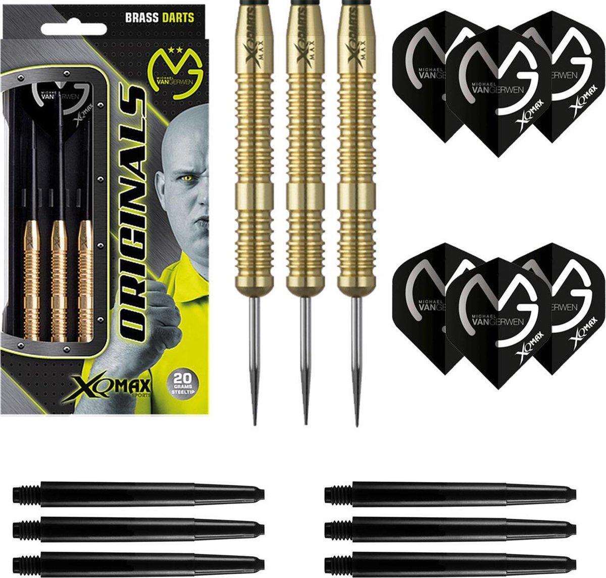XQMax - Michael van Gerwen - 100% Brass - 20 gram - dartpijlen - inclusief extra - darts shafts - en - darts flights