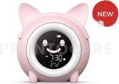 Slaaptrainer - Wake-up light - Digitale wekker met slaaptimers - Nachtlamp met slaapdeuntjes - Kat - Perzik