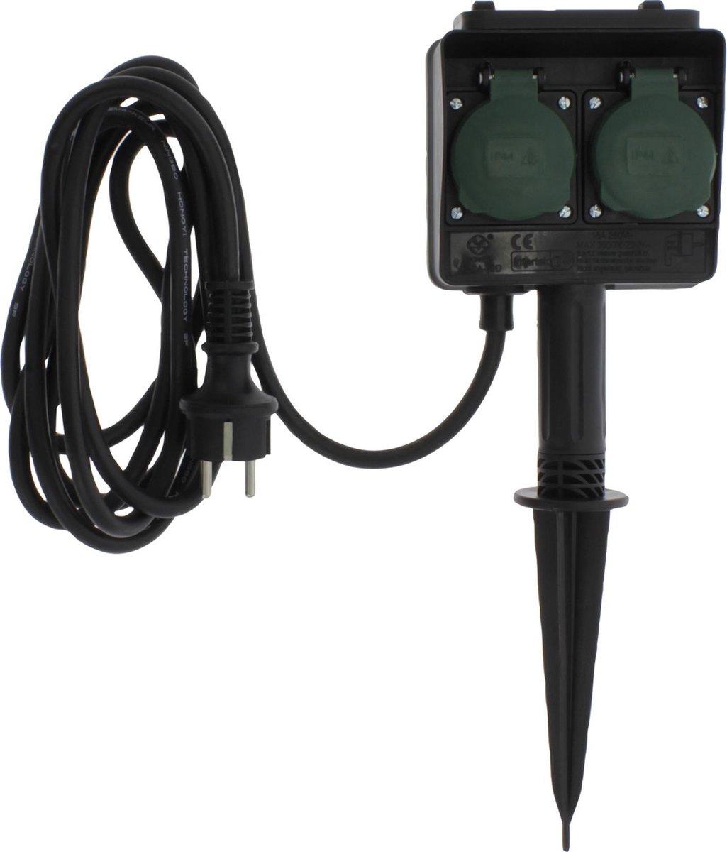 Q-Link stekkerdoos - 2-voudig - op spie - randaarde - H05RRF - 3500W - 3 x 1.5 mm  - 3 m - zwart