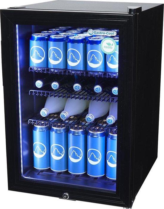Koelkast: Gastro-Cool KW65 - Mini koelkast met glazen deur 62 Liter - Zwart/Zwart/Zwart 204101, van het merk Gastro-Cool