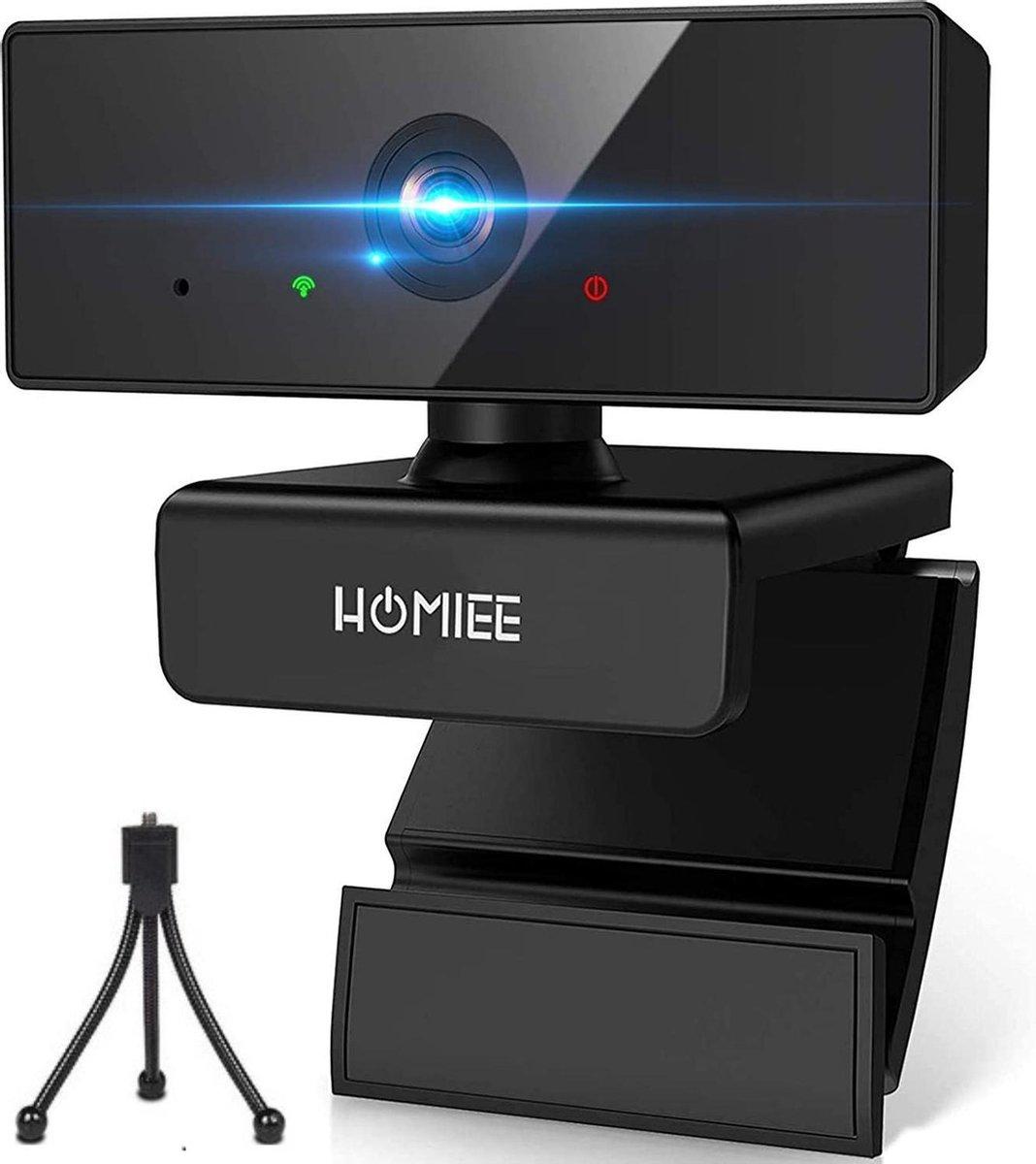 Webcam Full HD met Statief - 360° draaibaar- Webcam voor pc - Gamen -Vergaderen - Werk & Thuis - School - USB- Auto focus