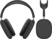 Luxe Siliconen Case Cover Set Voor Apple Airpods Max Draadloze Bluetooth Koptelefoon - Soft Case Cover Protector - Skin Shell Beschermer Hoes - Oorschelpen Bescherming - Zwart