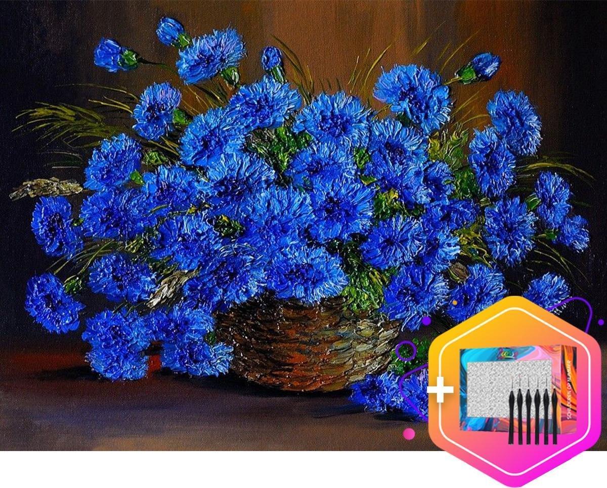 Pcasso ® Blauwe Bloem - Schilderen Op Nummer - Incl. 6 Ergonomische Penselen En Geschenkverpakking - Schilderen Op Nummer Volwassenen - Canvas Schilderdoek - Kleuren Op Nummer - 40x50 cm