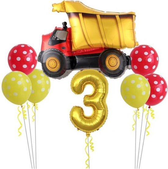 Geweldig 11 delig ballonpakket met grote kiepwagen en groot cijfer 3 (80 cm hoog)