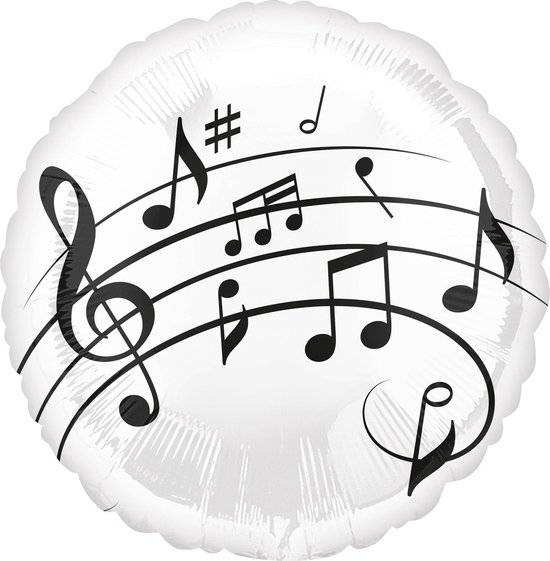 Amscan Folieballon Muziek 43 Cm Wit