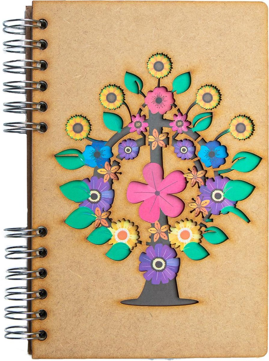 KOMONI   Duurzaam houten notitieboek   Gerecycled papier   Navulbaar   A5   Stippen   Levensboom