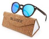 Bluxer® Zonnebril voor Heren en Dames Polaroid - Hippe Houten Zonnebril Gepolariseerd - UV400 Lens - Gelamineerd Ebony Wood - Ice Blue Lens
