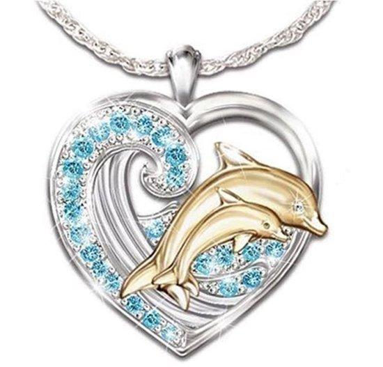 Ketting met hanger hart met strass  - dolfijnen