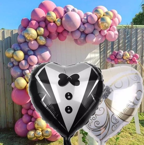 Folie helium ballon Bruiloft hartjes/Bruiloft/Trouwfeest (2 stuks) 45cm