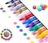 Afbeelding van Acryl stiften 12 kleuren   2-3 mm   Acrylverf stiften   Acryl marker   Acryl stiften volwassenen   Acrylstiften voor stenen schilderen   Happy Stones stiften
