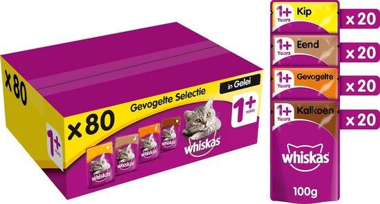 Whiskas 1+ Adult Voordeelpak Maaltijdzakjes - Gevogelte in Gelei - Kattenvoer - 80 x 100 g