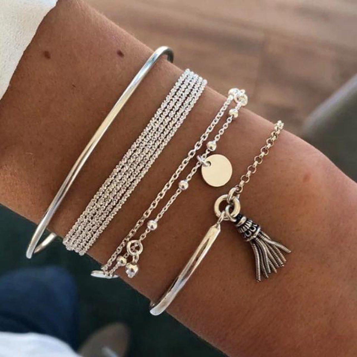 Armbandenset - Multilayer - Zilver - Kwastje - Dames - Lieve Jewels