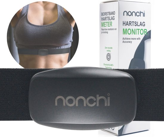 Nonchi® Hartslagmeter - Met Borstband - Hartslagband - Elastisch & Verstelbaar - 400 uur Batterij - Inclusief E-Book