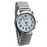 Fako® - Horloge - Rekband - Plato - Ø 37mm - Zilverkleurig - Wit