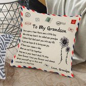 """TDR - Sierkussensloop - 45x45 cm  - leuk als cadeau voor grootvader naar kleinzoon -  """"To my grandson"""""""