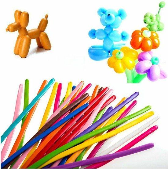 100 Modelleer Ballonnen - Assorti kleuren - 130cm - Rood / Geel / Blauw / Paars / Wit / Groen / Roze - Lange ballonnen / Figuur ballonnen