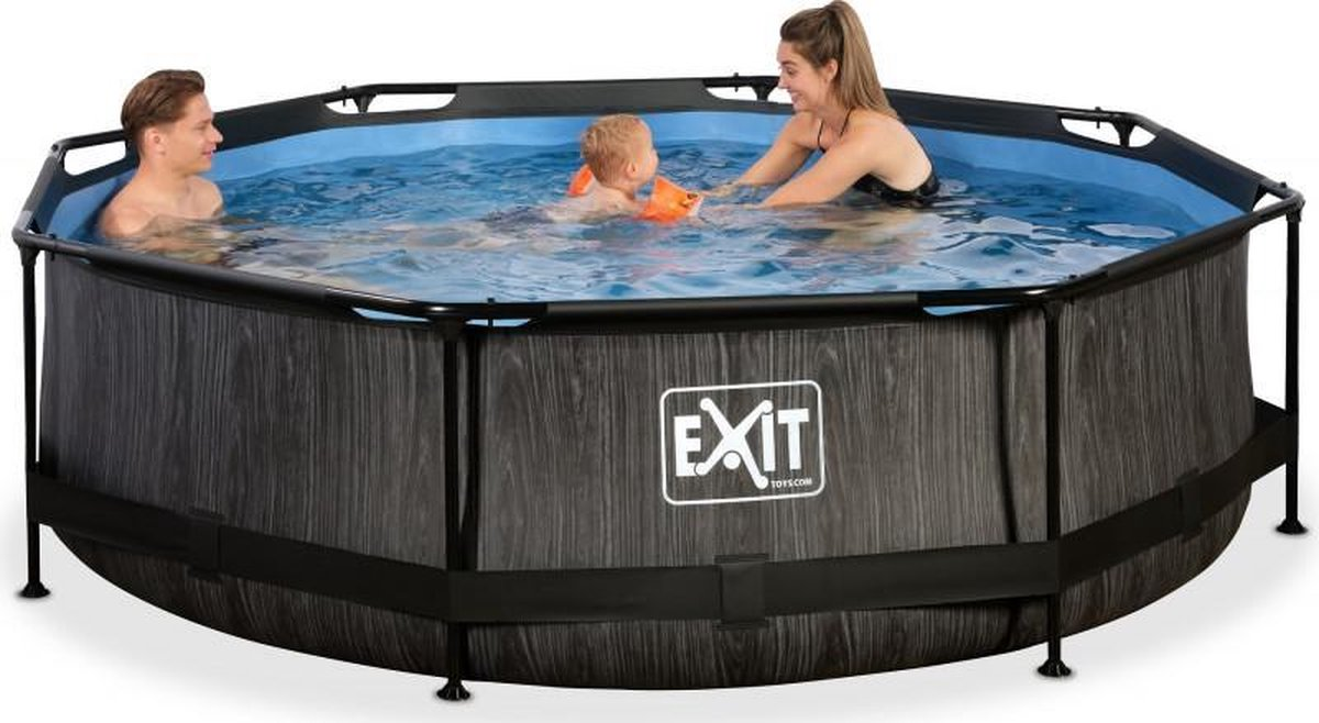 EXIT Zwembad Frame Pool Black Wood Limited Edition met Filterpomp - 300 x 76 cm