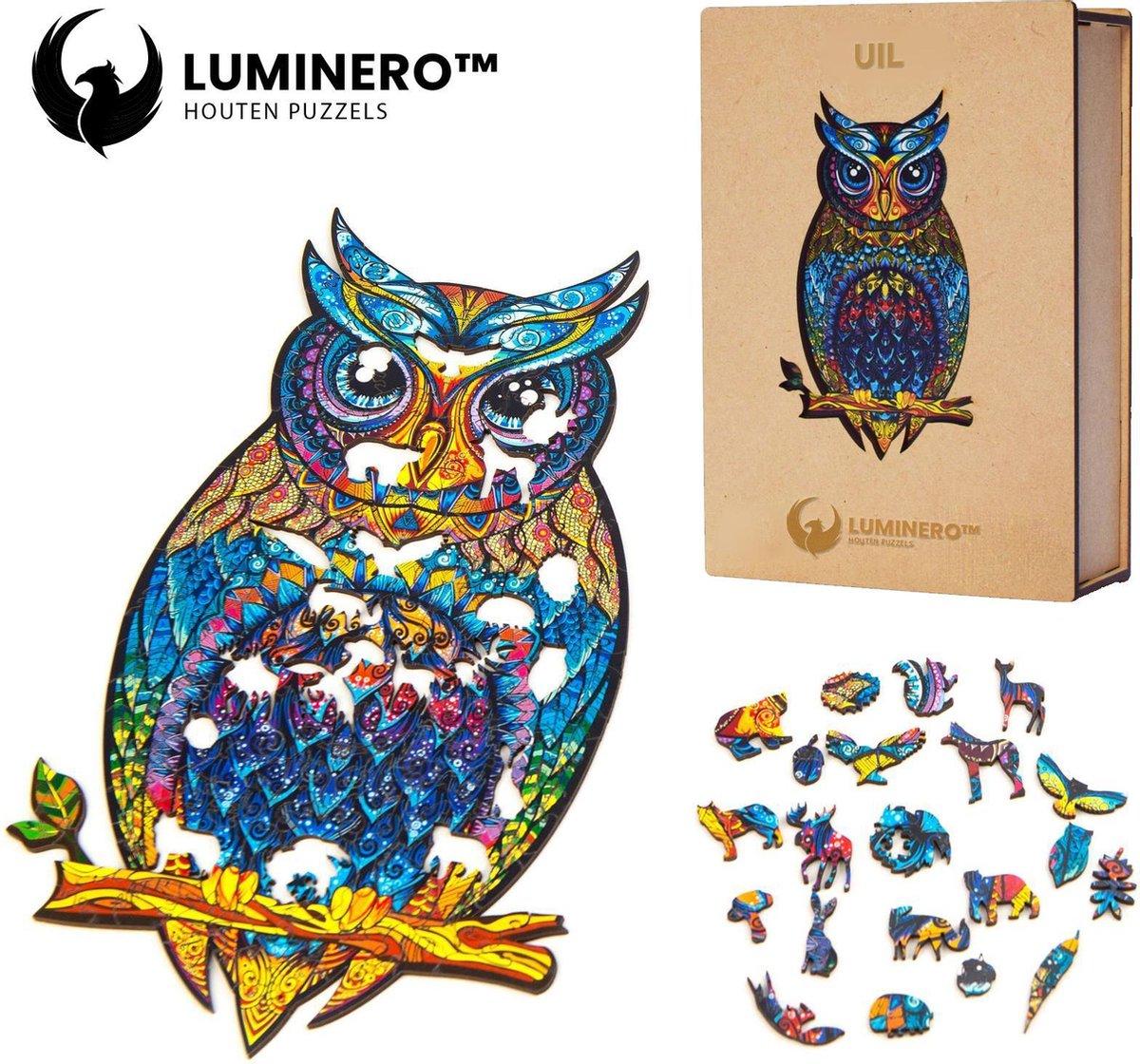Luminero™ Houten Uil Jigsaw Puzzel - A4 Formaat Jigsaw - Unieke 3D Puzzels - Huisdecoratie - Wooden Puzzle - Volwassenen & Kinderen - Incl. Houten Doos