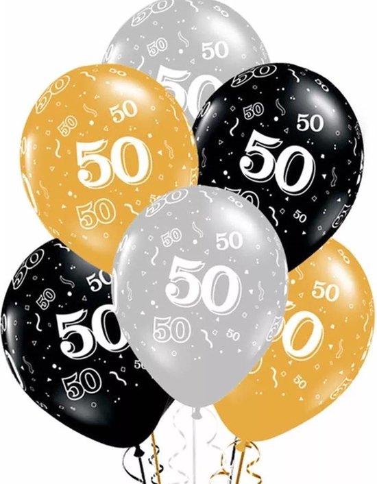 Ballonnen 50 jaar 3 kleuren 10 stuks , kindercrea