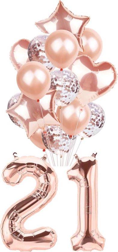 21 jaar ballonnen - Rose - Set van 16