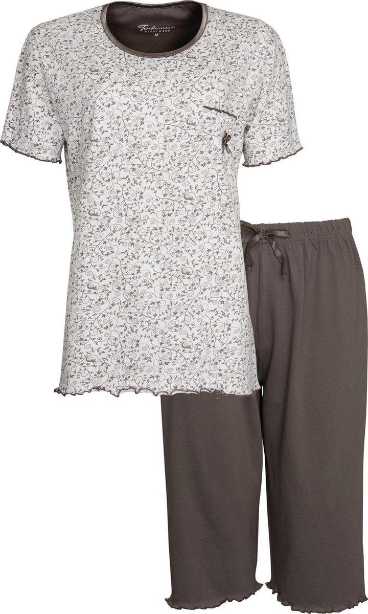 Tenderness Dames Pyjama Bruin Drie kwart broek TEPYD1001A Maten: M