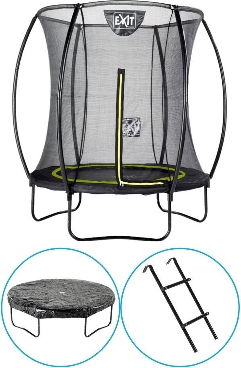 EXIT Toys - Trampoline Met Veiligheidsnet - Op Poten - Silhouette - Rond - ø183cm - Zwart - Inclusief Ladder en Afdekhoes