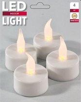 LED Theelicht Waxinelicht 4 Stuks Inclusief Batterijen - Wit