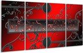 Glasschilderij Modern | Rood, Zwart, Grijs | 160x80cm 4Luik | Foto print op Glas |  F004859