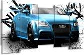 Schilderij   Canvas Schilderij Audi, Auto   Blauw, Zwart, Grijs   150x80cm 5Luik   Foto print op Canvas