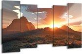Canvas schilderij Zonsondergang | Geel, Bruin, Wit | 150x80cm 5Luik