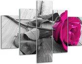 Glasschilderij Roos   Roze, Grijs   100x70cm 5Luik   Foto print op Glas    F004963