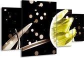 Canvas schilderij Tulp | Zwart, Geel | 160x90cm 4Luik