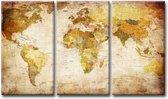 Schilderij - Wereldkaart Landen, Beige/Bruin, 160X90cm, 3luik