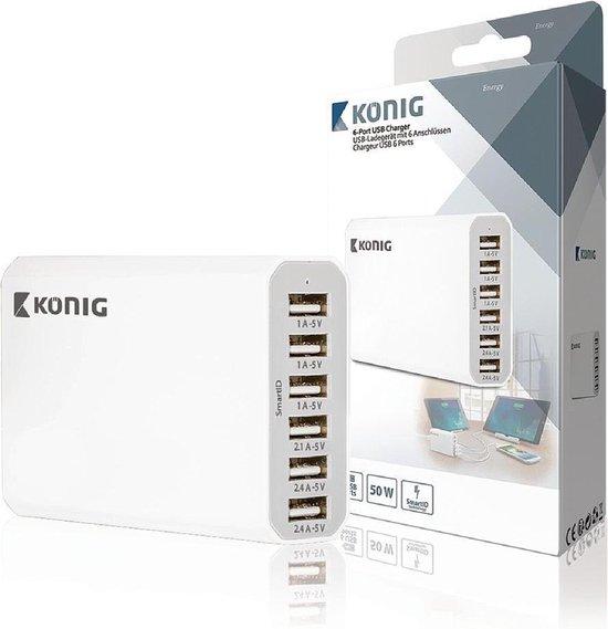 Konig opladers voor mobiele apparatuur USB-lader 6 poorten 10 A 50 W EU-stekker